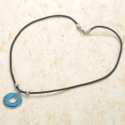 Fashion Round Shaped Pendant Necklace - Silver + Blue + Black
