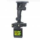 "2.0"" LTPS 1.2MP Wide Angle Car DVR Camcorder with 2-LED Light/TF/Mini USB - Black"