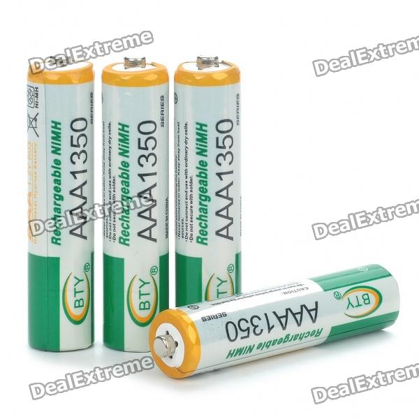 BTY Rechargeable 1.2V 300mAh Ni-MH AAA Batteries (4-Piece Pack) 8pcs pkcell battery aaa pre charged nimh 1 2v 1200mah ni mh 3a rechargeable batteries up to 1000mah capacity cycle 1200times