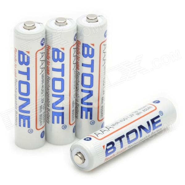 "BTONE Rechargeable 1.2V ""850mAh"" AAA Batteries (4-Piece Pack)"