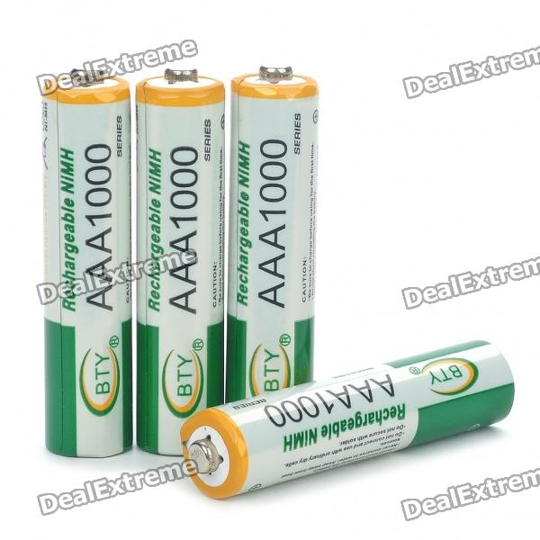 BTY Rechargeable 1.2V 1000mAh Ni-MH AAA Batteries (4-Piece Pack) 8pcs pkcell battery aaa pre charged nimh 1 2v 1200mah ni mh 3a rechargeable batteries up to 1000mah capacity cycle 1200times