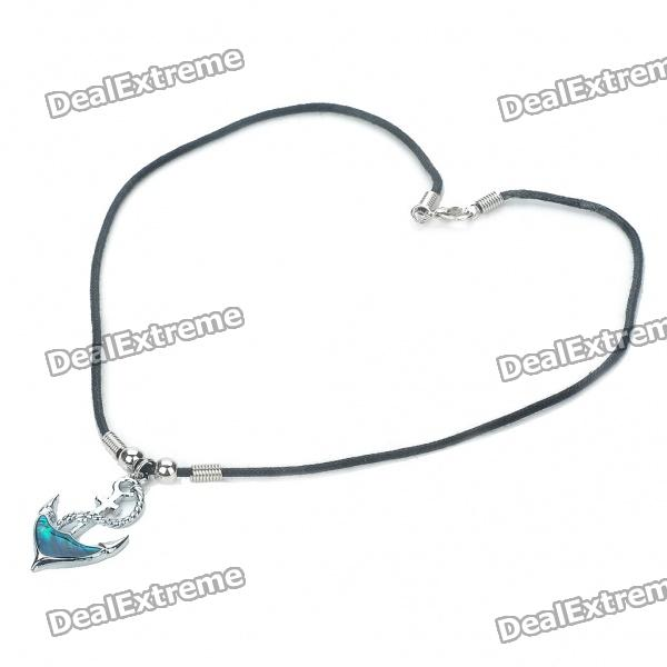 Fashion Anchor Style Zinc Alloy Shell Pendant Necklace - Silver + Blue