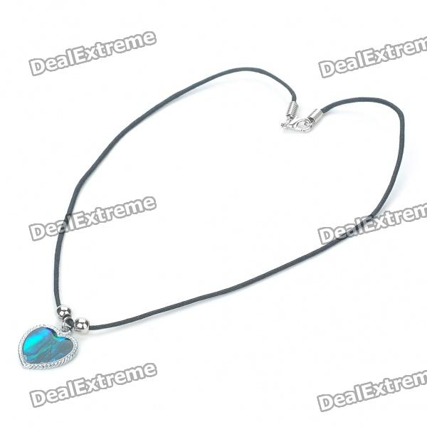 Fashion Heart Style Zinc Alloy Shell Pendant Necklace - Silver + Blue