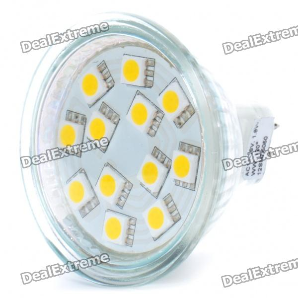 MR16 1.8W 3200K 150-Lumen 12x5050 SMD LED Warm White Light Bulb (11~18V)