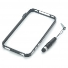 Designer's Ultra-Thin Aluminum Alloy Protective Bumper Frame w/ Stylus for iPhone 4 - Black