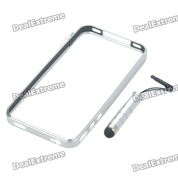 Designer's Ultra-Thin Aluminum Alloy Protective Bumper Frame w/ Stylus for iPhone 4 - Silver