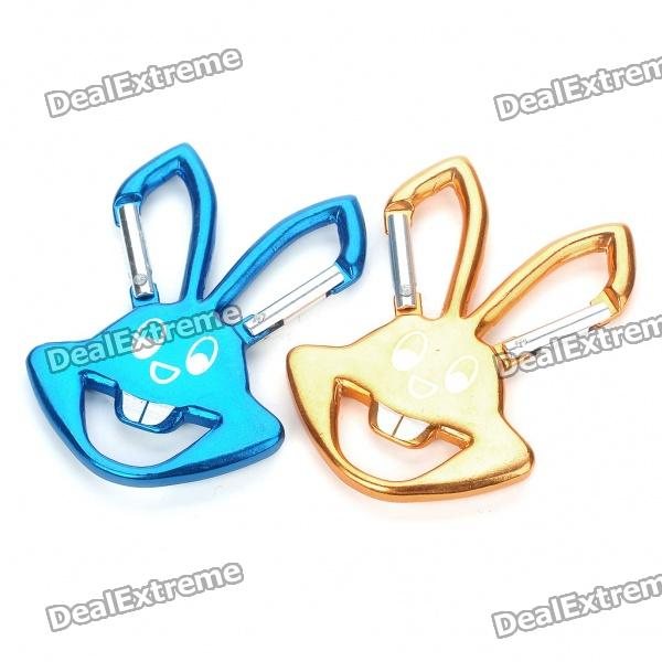 Cute Rabbit Style Aluminum Alloy Dual Carabiner Clip Bottle Opener (Pair/Random Color)