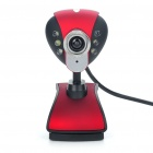300KP CMOS PC USB Webcam w/ 6-LED White Light/Microphone - Black + Red