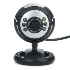 300KP CMOS PC USB Webcam w/ 6-LED White Light/Microphone - Black