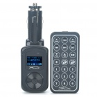 "0,9 ""LED Car MP3 Player FM Transmitter w / Remote Controller/USB/SD/3.5mm - schwarz (2GB)"