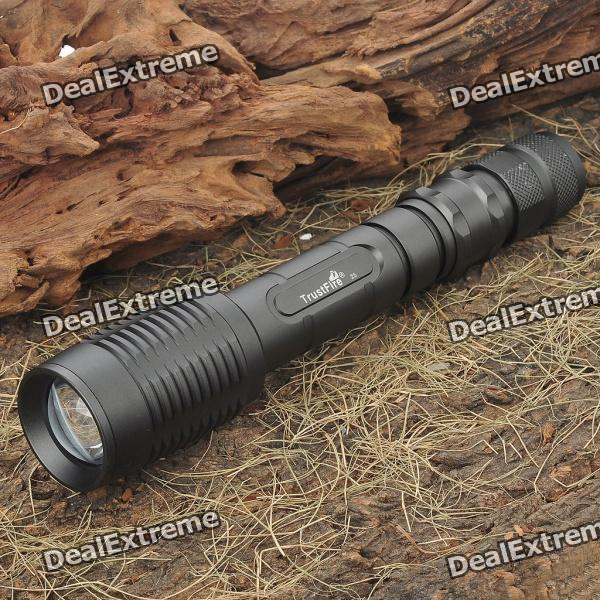 TrustFire 5-Mode 450-Lumen Memory White LED Convex Lens Flashlight Set (2x18650)18650 Flashlights<br>BrandTrustfireModelZ5Quantity1 DX.PCM.Model.AttributeModel.UnitForm  ColorBlack ashMaterialAluminum alloyOther FeaturesZoom-to-throwEmitter BrandCreeLED TypeXM-LEmitter BINT6Number of Emitters1Color BINWhiteWorking Voltage   3.2~8.4 DX.PCM.Model.AttributeModel.UnitPower Supply2 x 18650 batteries (included)Current1.2 DX.PCM.Model.AttributeModel.UnitActual Lumens450 DX.PCM.Model.AttributeModel.UnitRuntime1 DX.PCM.Model.AttributeModel.UnitNumber of Modes5Mode ArrangementHi,Mid,Low,Fast Strobe,SOSMode MemoryYesSwitch TypeReverse clickySwitch LocationTailcapLensGlassReflectorAluminum SmoothBeam Range350 DX.PCM.Model.AttributeModel.UnitStrap/ClipStrap includedOutput(lumens)201-500Runtime(hours)0.1-1Packing List1 x Flashlight2 x 18650 Batteries1 x Battery charger (AC 100~240 V / US plug)<br>