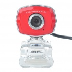 USB 2.0 1.3 MP Driverless Clip-on Webcam with Built-in Microphone for PC/Laptop - Red + Transparent