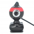 USB 2.0 1.3 MP Driverless Clip-on Webcam with Built-in Microphone for PC/Laptop - Red + Black