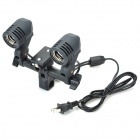Dual E27 Sockets Lamp Bulb Holder Flash Umbrella Bracket - Black
