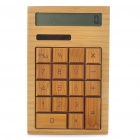 "Unique Bamboo Solar Powered 3.0"" LCD 12-Digit Calculator"