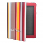 Stylish Colorful Stripe Pattern Protective PU Leather Back Case for iPad 2 - Coffee