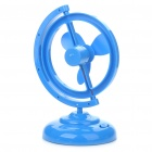 Unique USB/4 x AA Powered 2-Mode 3-Blade Desktop Cooling Fan - Blue