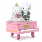 Resin Couple Piano Style Jewelry Box - Pink + White
