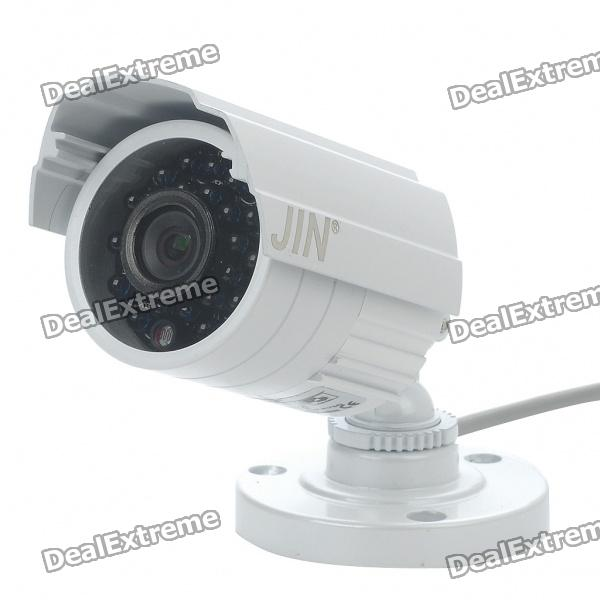 1/3 CCD Water Resistant Surveillance Security Camera w/ 24-LED IR Night Vision - White