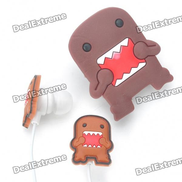 Cute Domo-Kun Figure Stereo Earphone with Microphone & Clip for iPhone (3.5mm Jack/100CM-Cable)