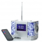 "2.6"" LCD Cubic Wooden Rechargeable MP3 Player Speaker w/ FM/Alarm Clock/USB/SD - Blue + Silver"