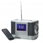 "2.6"" LCD Cubic Wooden Rechargeable MP3 Player Speaker w/ FM/Alarm Clock/USB/SD - Black + Silver"