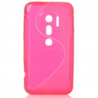 Protective TPU S Back Case Cover for HTC EVO3D - Translucent Red