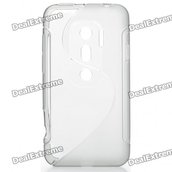 Protective TPU S Back Case Cover for HTC EVO3D - Grey