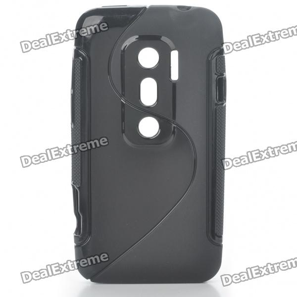 цены  Protective TPU S Back Case Cover for HTC EVO3D - Black