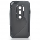 Protective TPU S Back Case Cover for HTC EVO3D - Black