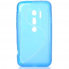 Protective TPU S Back Case Cover for HTC EVO3D - Translucent Blue