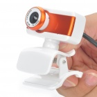 USB 300 KP Driverless Clip-on Webcam with Built-in Microphone for PC/Laptop - Orange