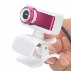 USB 300 KP Driverless Clip-on Webcam with Built-in Microphone for PC/Laptop - Deep Pink
