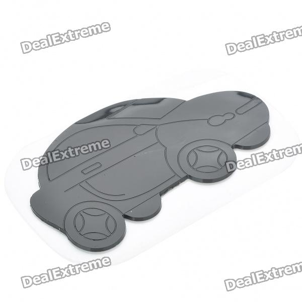 Cute Car Shaped Super Strong PU Rubber Anti-Slip Mat for Vehicles - Black
