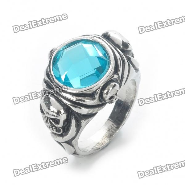 Pirates of the Caribbean Jack Sparrow's Skull Ring - Silver + Blue (19mm Inner Diameter)