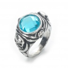 Pirates of the Caribbean Jack Sparrow&#039;s Skull Ring - Silver + Blue (19mm Inner Diameter)