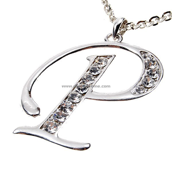 Crystal A To Z Series Silver Party Necklace P Letter Design