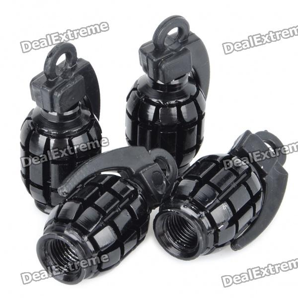 Universal Cool Grenade Shaped Car Tire Valve Caps - Black (4-Piece Pack)