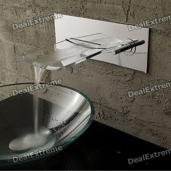 Stylish Wall Mounted Chromed Copper Pull-Out Waterfall Kitchen Sink Faucet - Silver us free shipping wholesale and retail oil rubbed bronze bathrom waterfall sink basin faucet mixer tap glass spout wall mount