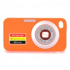 Digital Camera Pattern Protective Silicone Back Case w/ Screen Protector for iPhone 4 - Orange