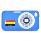 Digital Camera Pattern Protective Silicone Back Case w/ Screen Protector for iPhone 4 - Blue
