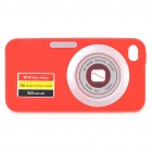 Digital Camera Pattern Protective Silicone Back Case w/ Screen Protector for iPhone 4 - Red
