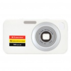 Digital Camera Pattern Protective Silicone Back Case w/ Screen Protector for Iphone 4 - White