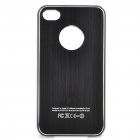 Protective Wiredrawing Back Case + Screen Protector + Cleaning Cloth for iPhone 4 - Black