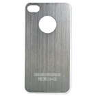Protective Wiredrawing Back Case + Screen Protector + Cleaning Cloth for iPhone 4 - Silver