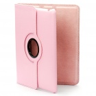 Protective 360 Degree Rotation Holder PU Leather Case for iPad 2 - Pink