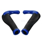 Ergonomic Multi-Position Cycling Grips Bicycle Bar End Handlebar - Pair (Black + Blue)