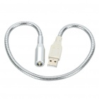USB Powered 0.25W Flexible Neck LED White Light - Silver