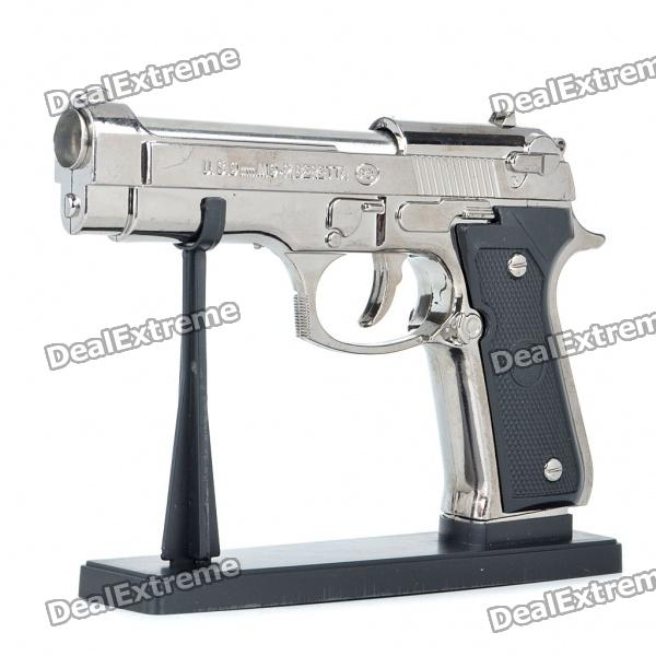 U.S.9mm M9 Pistol Shaped Butane Jet Torch Lighter - Dark Grey + Black