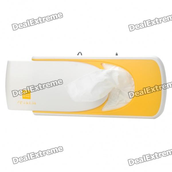 Plastic Car Sunshade Board Tissue Box - White + Yellow